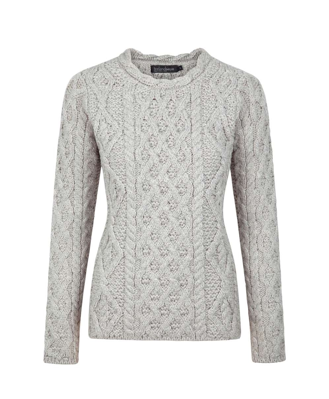 Merino Wool Lambay Lattice Cable Aran Sweater