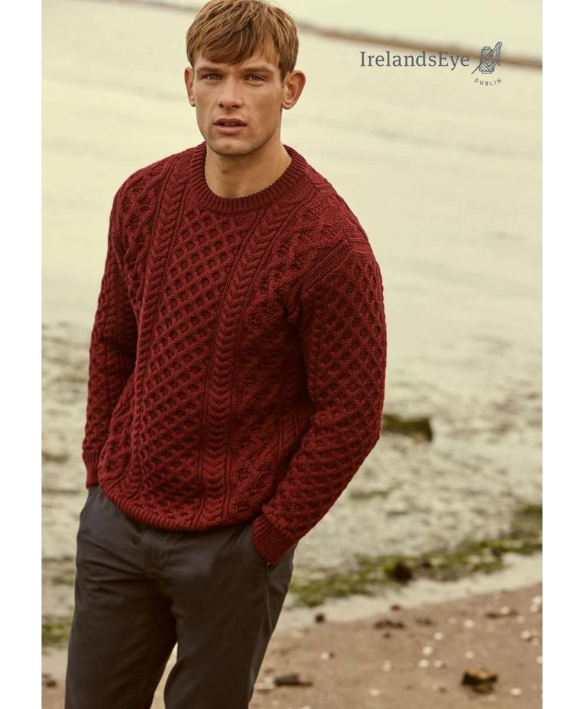Claret Blasket Honeycomb Aran Sweater
